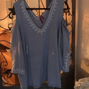Plus size 3x powder blue cold shoulder sweater